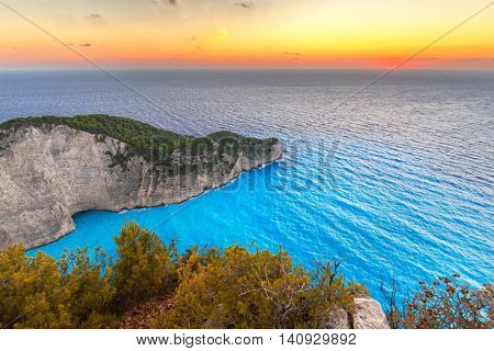 Navagio Beach (Shipwreck beach) at sunset on Zakynthos Island, Greece