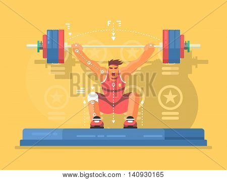 Weightlifting competitions flat design. Strong man in gym, lifting barbell. Vector illustration