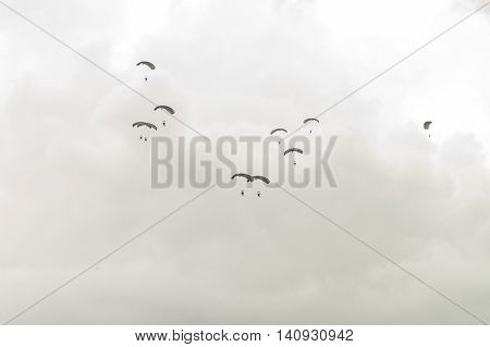 Parachutists In Sky