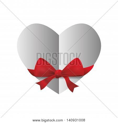 Love concept represented by bowtie and heart shape icon. Isolated and flat illustration
