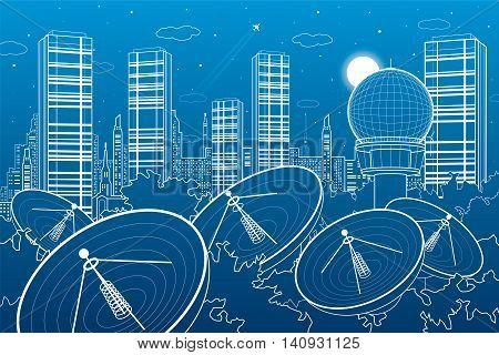 Radars in the woods, communication technology, weather station, night skyline, neon city, urban scene, vector design art