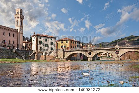 Santa Sofia, Forlì-Cesena, Emilia Romagna, Italy - view from the river shore of the village located within the Foreste Casentinesi, Monte Falterona, Campigna National Park