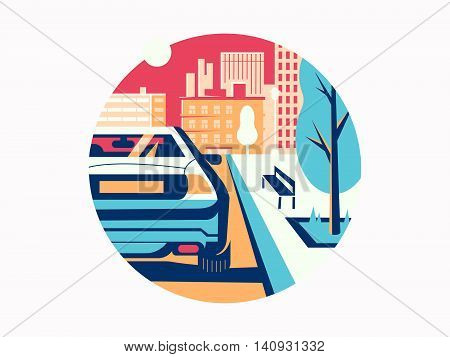 Car on road in city. Transportation and traffic to street, vector illustration