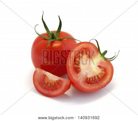 Red tomatoes and slices isolated on white background