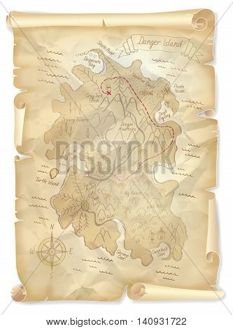 Old pirates treasure island map with marked location vector illustration