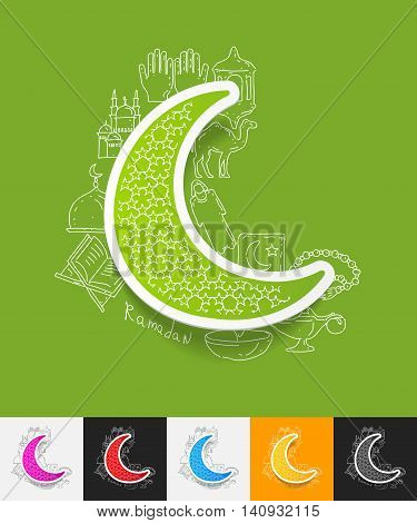 hand drawn simple elements with moon paper sticker shadow