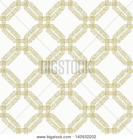 Geometric repeating ornament with golden octagonal dotted elements. Seamless abstract modern pattern