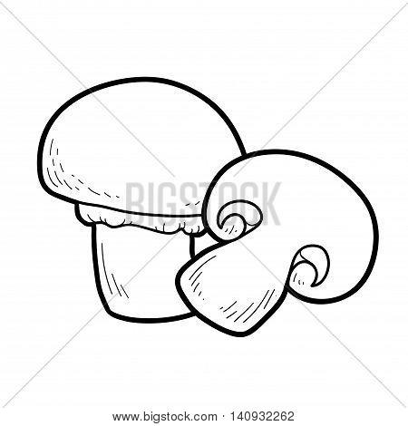 Coloring Book. Edible Mushrooms, Champignon