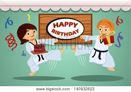 A vector illustration of kids birthday party banner with taekwondo theme
