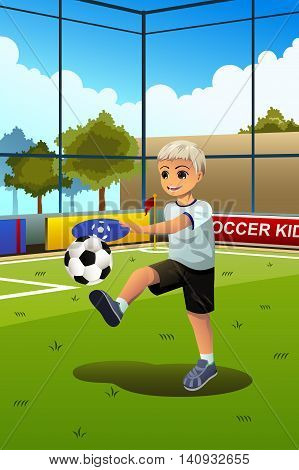 A vector illustration of a boy soccer player kicking a ball