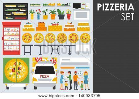 Big detailed Pizzeria Interior flat icons set. Menu, Waiter, Tables. Pizza conceptual web vector illustration.