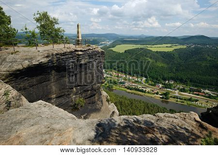 View from a high cliff above the river Elbe