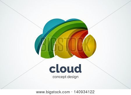 Cloud logo template, remote hard drive storage or weather concept - geometric minimal style, created with overlapping curve elements and waves. Corporate identity emblem, abstract business company