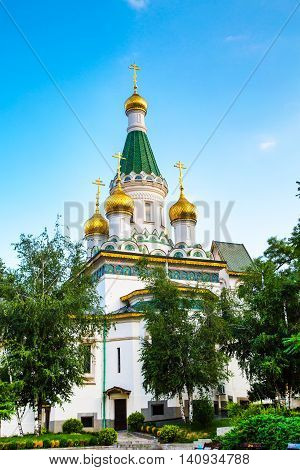 Russian St. Nicholas church in Sofia city, capital of Bulgaria