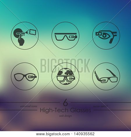 high-tech glasses modern icons for mobile interface on blurred background