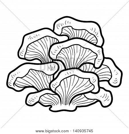 Coloring Book. Edible Mushrooms, Oyster