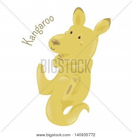Kangaroo isolated on white. Marsupial from the family Macropodidae. Macropus. Red, antilopine, eastern and western grey kind. Part of series of various australian animal species. Wildlife. Vector