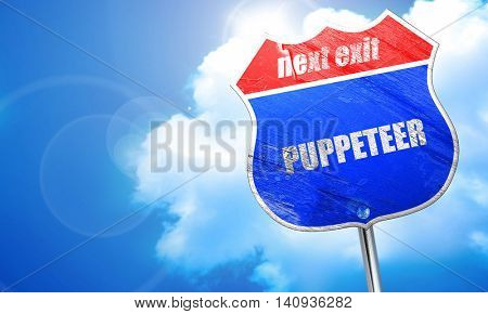 puppeteer, 3D rendering, blue street sign