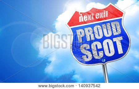 proud scot, 3D rendering, blue street sign