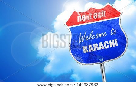 Welcome to karachi, 3D rendering, blue street sign
