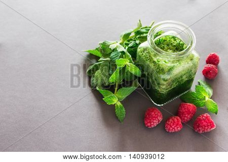 Healthy Green Smoothie With  Raspberries And Mint