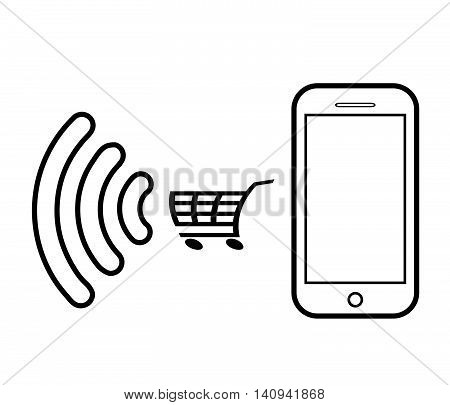 Online shopping vector illustration.Mobile laying vector. Online shopping through a mobile phone.