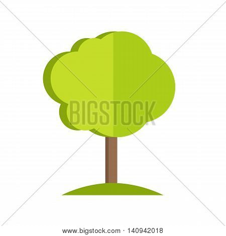 Simple tree with cloud-style crown icon. Vector illustration in flat style design. Plant pattern for environment, gardening, farming, business growing concepts. Isolated on white background.