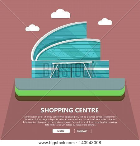 . Commercial building concept illustration for web design, banners. Shop, shopping center, mall, supermarket, business center background