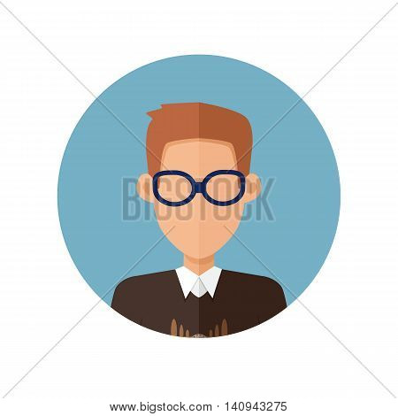 Young man private avatar icon. Young brunette man in brown sweater and glasses. Social networks business private users avatar pictogram. Isolated vector illustration on white background.