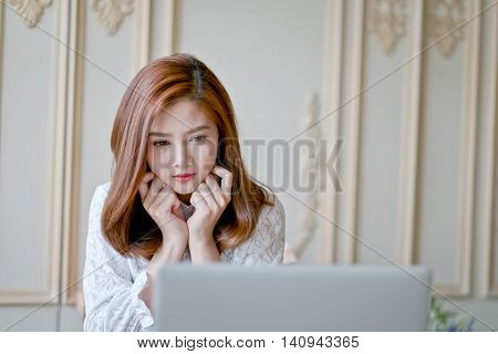 Woman  With Laptop Watching Movie