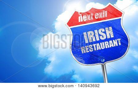 Delicious irish cuisine, 3D rendering, blue street sign