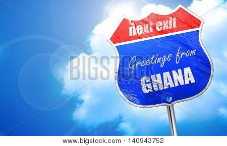 Greetings from ghana, 3D rendering, blue street sign