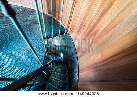 A Spiral Staircase Inside A Lighthouse.