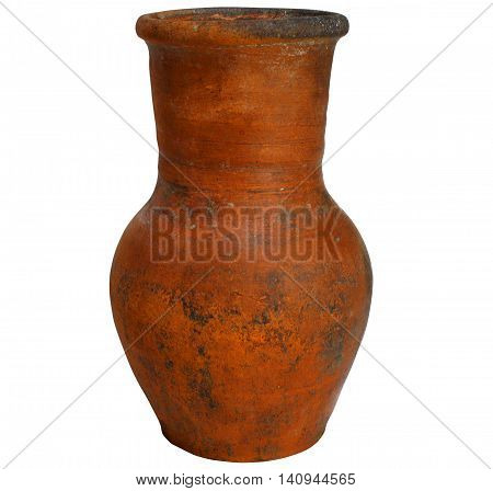 old ancient crock for foodstuffs isolated on white background
