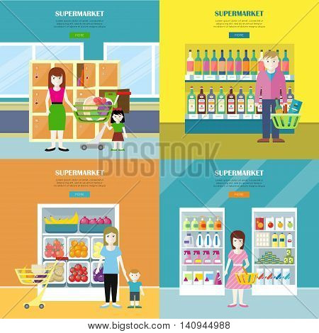 Set of supermarket concept web banners. Flat design. Women, child, man characters near shelves with food, drinks, household chemistry in store. Consumers choice and supermarket assortment illustrating