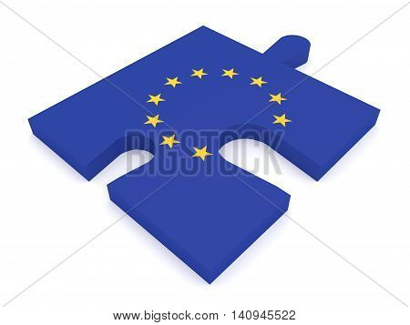 Puzzle Piece EU Flag Missing Stars 3d illustration