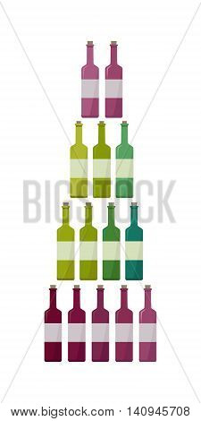 Bottles collection of different types of wine. Check elite vintage strong vine. Winemaking concept. Vine icon or symbol. Part of series of viniculture production and preparation items. Vector