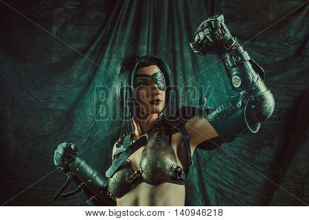 Powerful One-eyed Steam Punk Woman In Metal Lingerie. Retro Styled Toning.