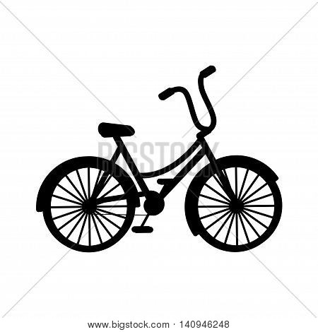 Bicycle icon. Black silhouette bicycle is on white background. Vector illustration