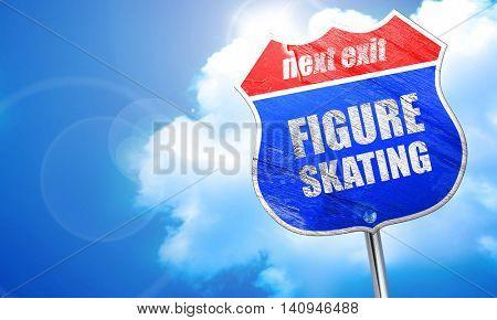 figure skating sign background, 3D rendering, blue street sign