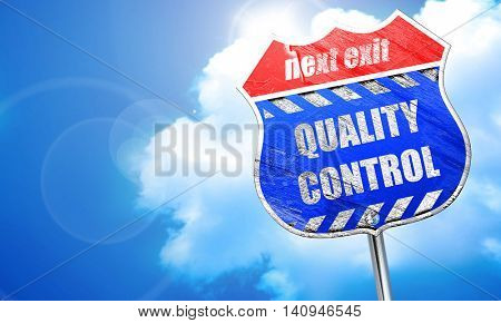 Quality control background, 3D rendering, blue street sign