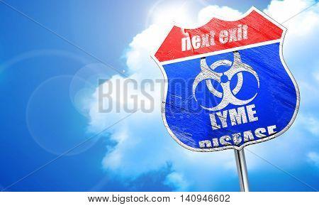 Lyme virus concept background, 3D rendering, blue street sign