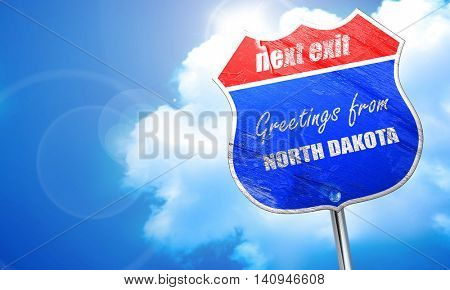 Greetings from north dakota, 3D rendering, blue street sign