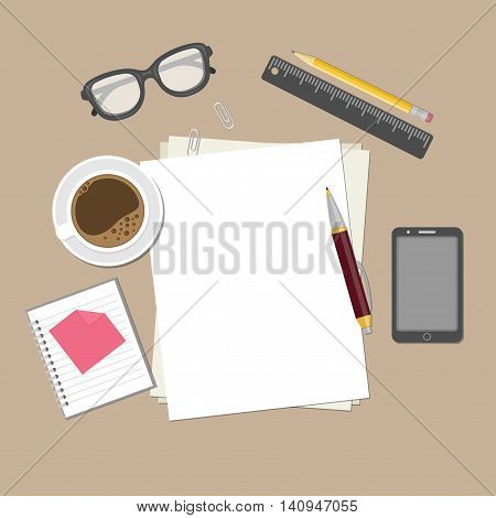 Blank sheets of paper on the desktop. View from above of blank sheets of paper, pen, pencil, ruler, smartphone, glasses, cup of coffee, notepad, paper clips. Preparation for work, notes or sketches.
