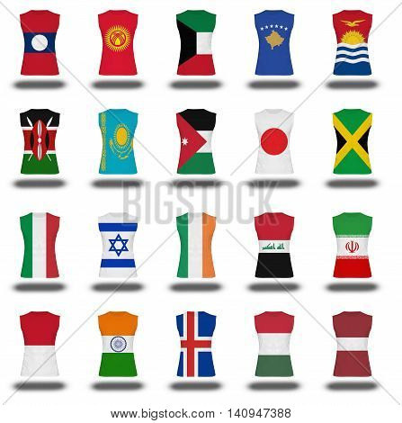 Compilation Of Nationals Flag Shirt Icon On White Background Part 510