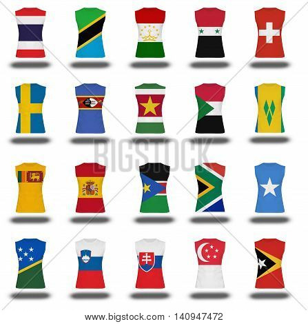 Compilation Of Nationals Flag Shirt Icon On White Background Part 910