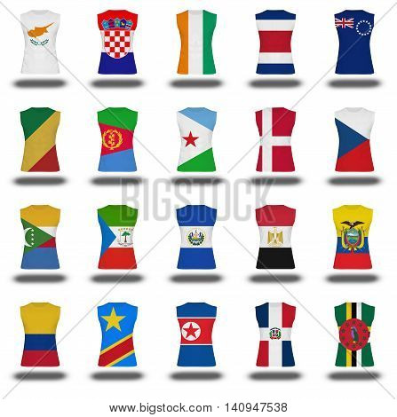 Compilation Of Nationals Flag Shirt Icon On White Background Part 310