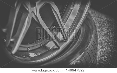Closeup Detail Of Aluminum Car Wheel, Black And White