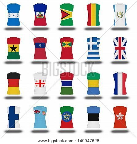 compilation of nationals flag shirt icon on white background part 4\10