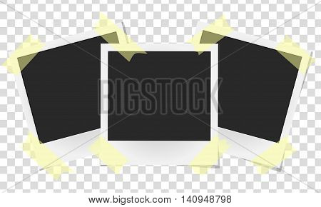 Set Of Realistic Vector Photo Frames On Sticky Tape. Template Photo Design, Vector Illustration
